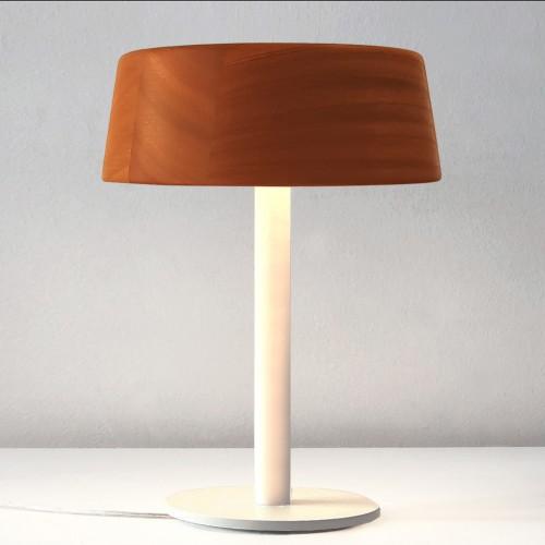 Lampara de mesa/velador con difusor de madera de cedro maciza.6