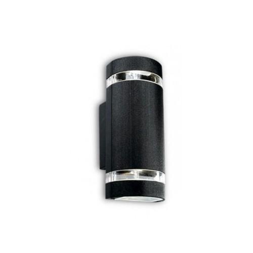 Aplique bidireccional, 2 luces p/dicroica, fundición aluminio y vidrio,
