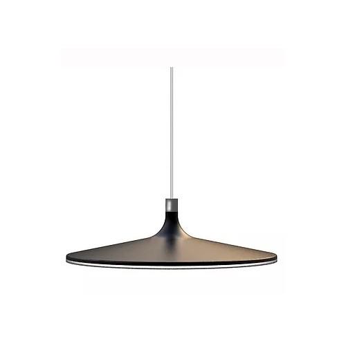 Colgante led plato aluminio negro mate Ø45cm. Difusor acrilico. Luz cálida 31W