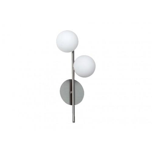 Aplique 2 luces esferas cristal opal y acero