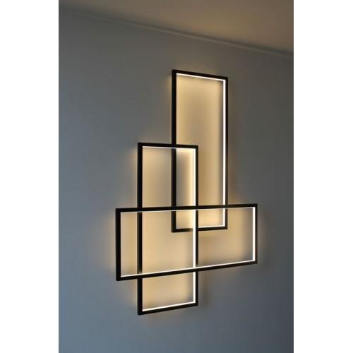 Aplique led , marcos aluminio entrecruzados, 3 tonos de luz con secuenciador