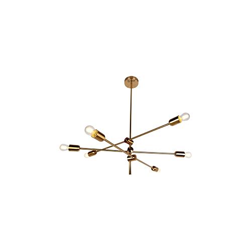 Colgante 6 luces E27 brazos basculantes, barrales bronce