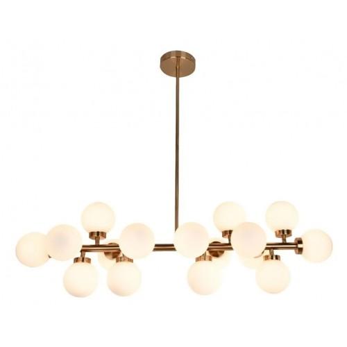 Colgante 16 luces G9,  globitos vidrio obal, barral bronce