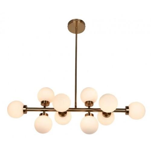 Colgante 10 luces G9,  globitos vidrio obal, barral bronce