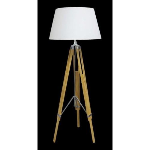 Lámpara de pie trípode madera clara y cromo  regulable