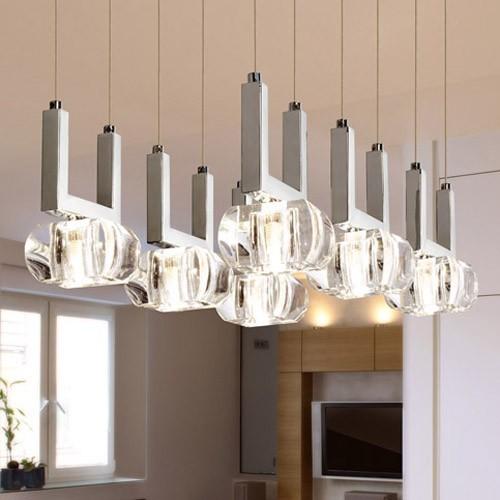 Colgante  6 luces, cristal y cromo, G9