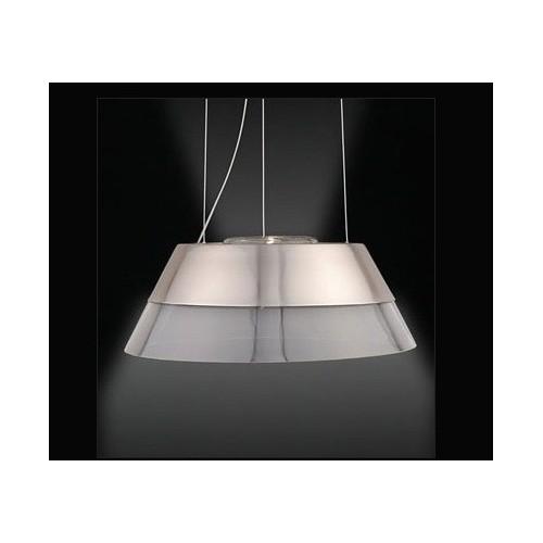 Colgante cónico 2 luces, cristal y acero Ø 37 cm