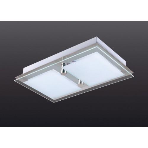Plafón rectangular marco acero, cristal serigrafiado, 2 luces