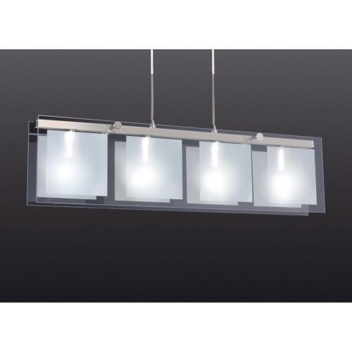 Colgante Escorpio II 4 luces E27 cristal / acero 80x20cm