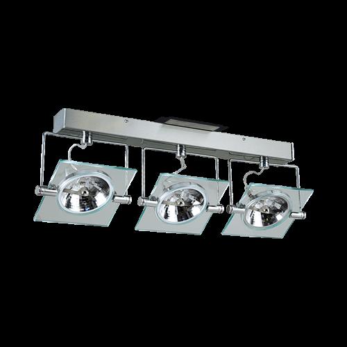 Barral AR-111 Led 12w. 3 luces cristal/acero completo para instalar