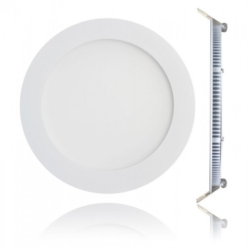 Embutido Led panel 18w ,Ø 22cm marco blanco, luz  fría