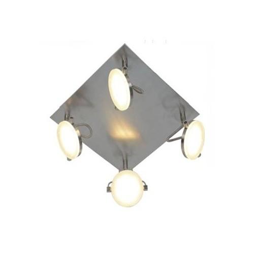 Plafón 4 luces led x 5w, luz cálida, platil