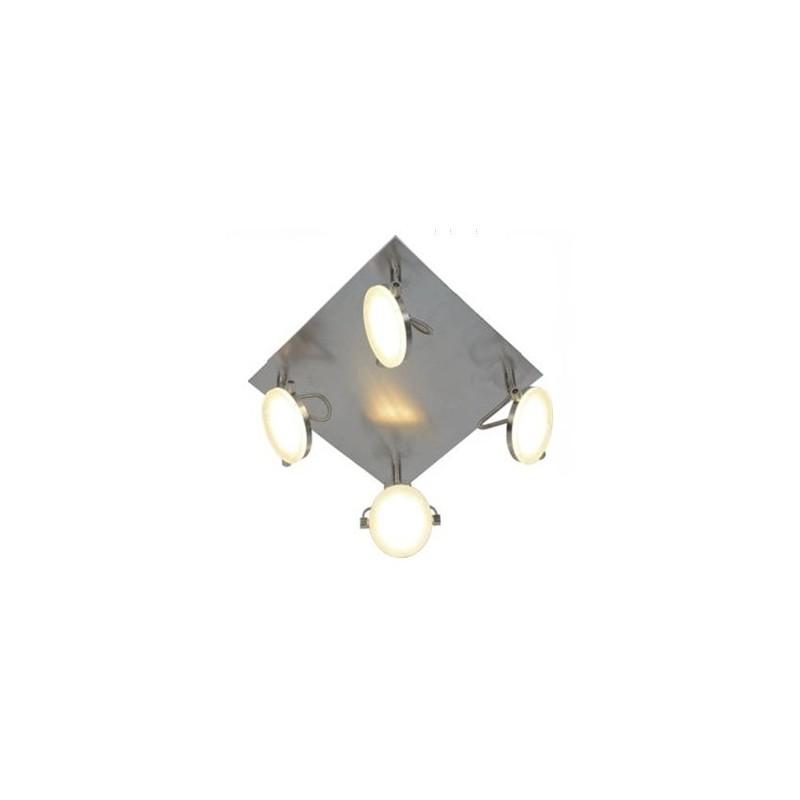 Plafón línea Solución, 4 luces led 4x5w, luz cálida, platil