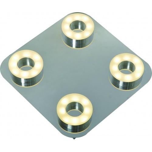 Plafón led 4x5w c/u , cálido, base cromo