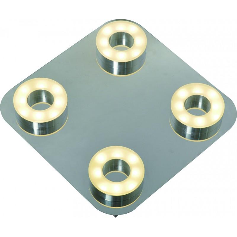 Plafón línea Sublime led 4x5w , calido, difusor opal, base cromo