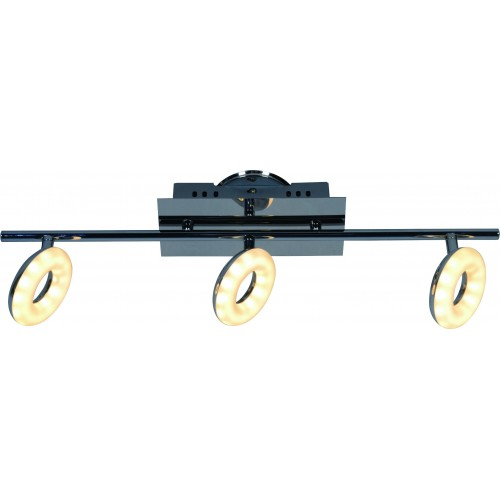 Aplique barral, 3 luces led 5w c/u, luz cálida, cromo