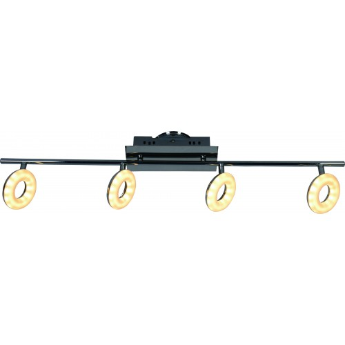 Aplique barral, 4 luces led 5w c/u, luz cálida, cromo