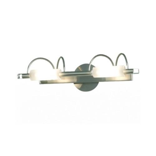 Aplique Roller 2 luces cuarzo acero / cristal satinado