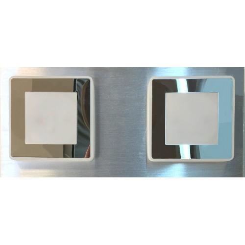 Plafón línea Benny, 2 luces led 4w c/u, luz cálida, platil c/cromo