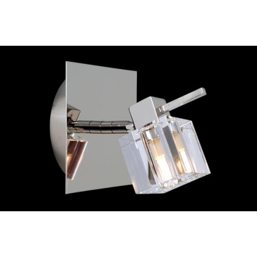 Aplique Delta cristal cromo 1 luz G-9 apto LED Ronda