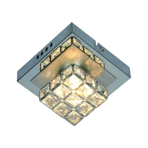 Plafón línea Sara, 1 luz led 4.2w, luz cálida, cromo c/cristales