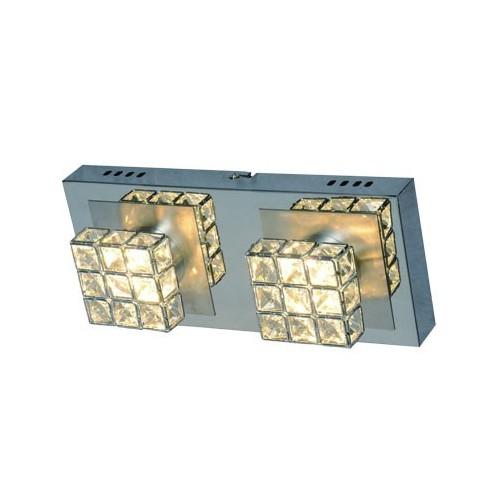 Plafón línea Sara, 2 luces led 4.2w c/u, luz cálida, cromo c/cristales