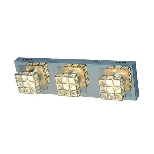 Plafón línea Sara, 3 luces led 4.2w c/u, luz cálida, cromo c/cristales