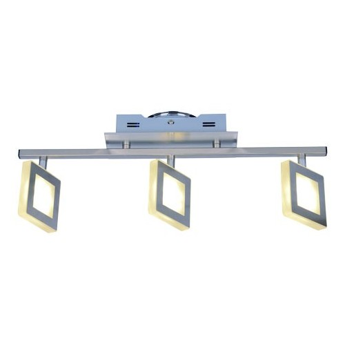 Aplique barral, 3 luces led 4w c/u, luz cálida, platil