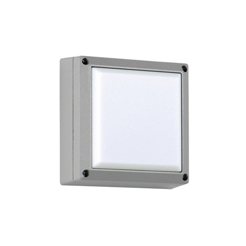 Plafón / Aplique 2 luces E27, 27x27cm, aluminio y vidrio satinado