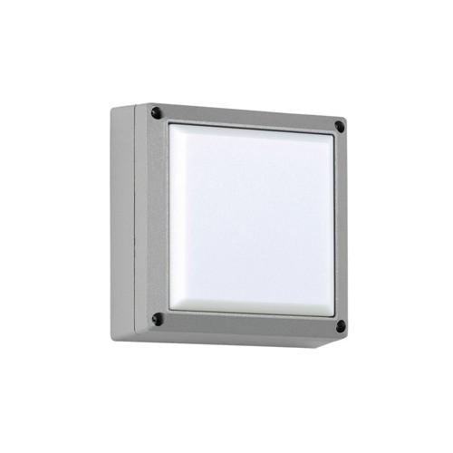 Plafón / Aplique, 1 luz E27, 21x21cm, aluminio y acrílico opal