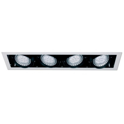 Embutido cardánico marco blanco p/ 4 luces AR111