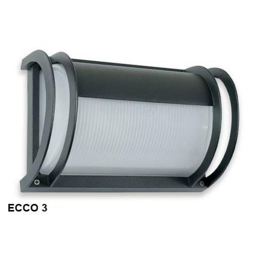Aplique Ecco 3, 1 luz E27, fundición aluminio y vidrio