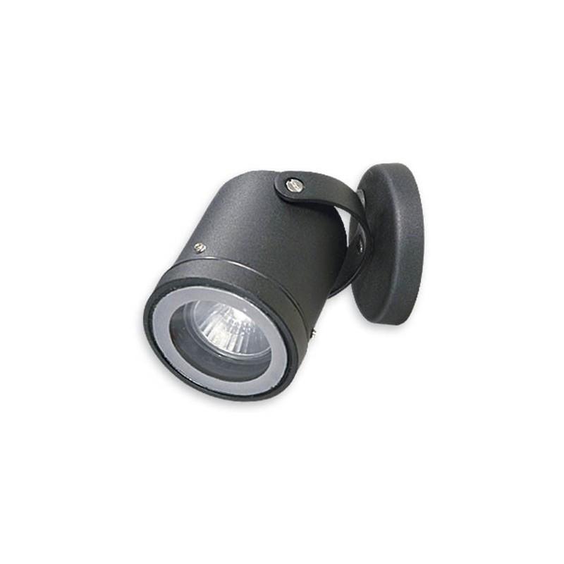 Aplique proyector piso o pared, 1 luz, p/dicroica, fundición aluminio y cristal