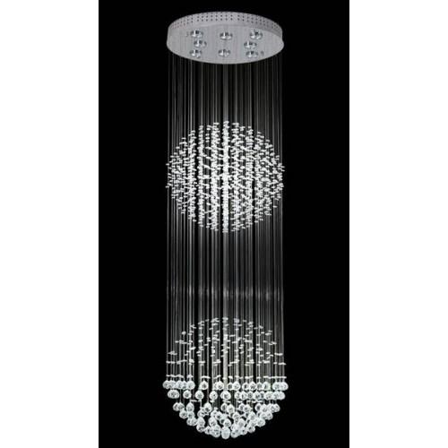 Plafón de cristales colgantes Esfera Doble, p/ 8 lámparas, base cromo