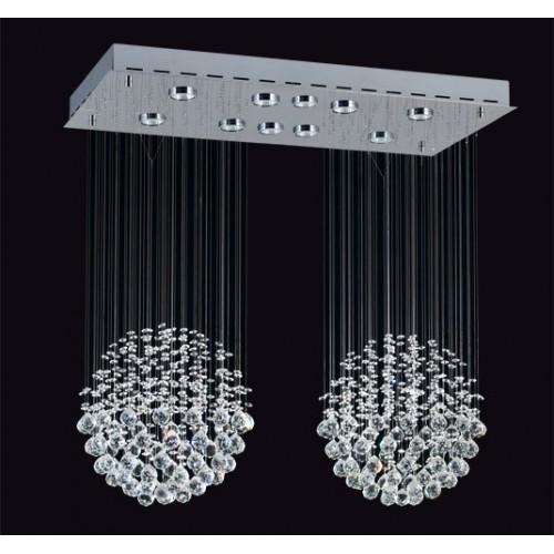 Plafón de cristales colgantes Mora, p/10 lámparas dicroica, base cromo
