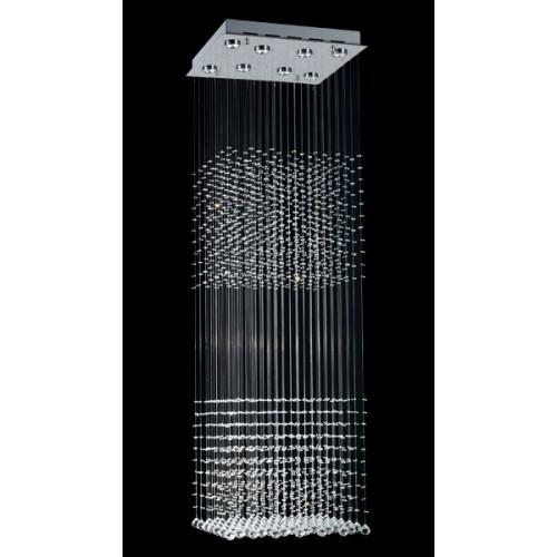 Plafón de cristales colgantes Mother, p/8 lámparas dicroica, base cromo