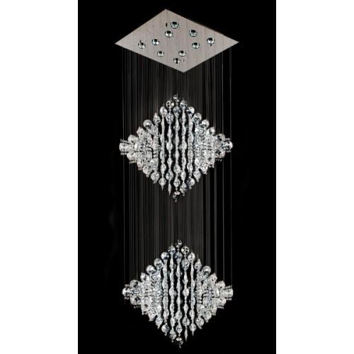 Plafón de cristales colgantes Rombo, p/10 lámparas dicroica, base cromo