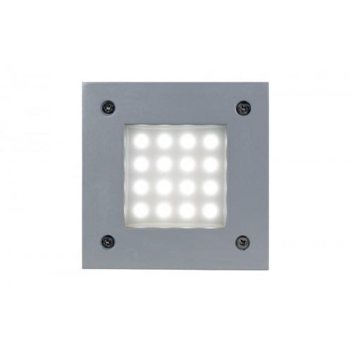 Embutido pared led 1w, inyección aluminio y cristal satinado