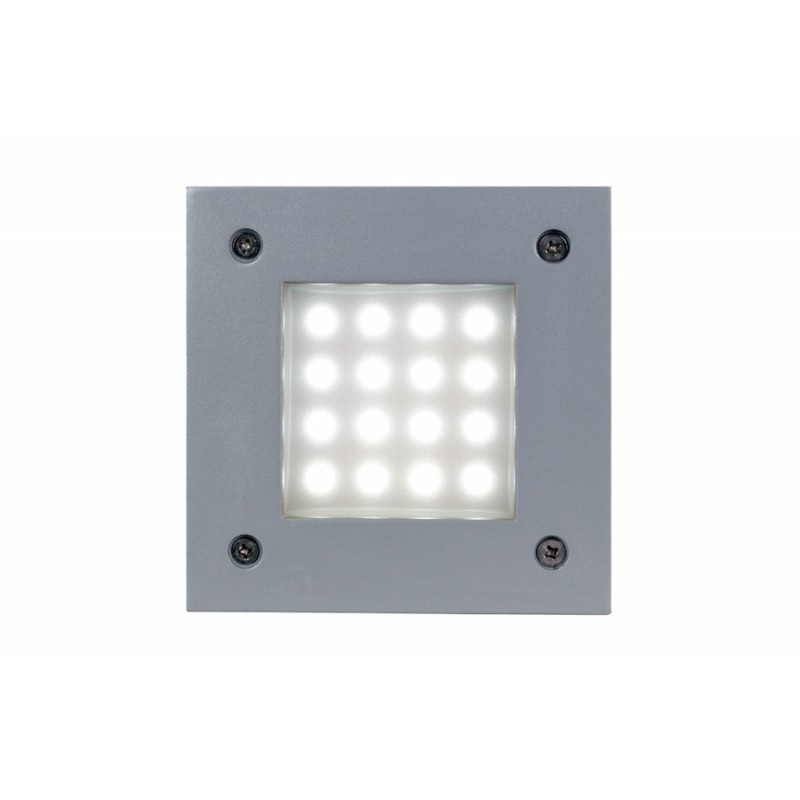 Embutido pared Ares II, led 1w, inyección aluminio y cristal satinado