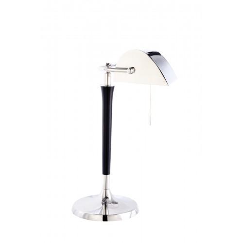 Lámpara mesa Banquero, pie y cabezal en cromo, pie en madera torneada