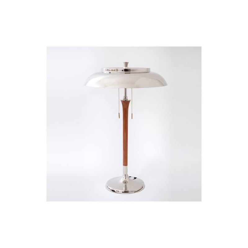 L mpara mesa vintage 2 luces base y plato met licos en - Lampara de pie de madera ...