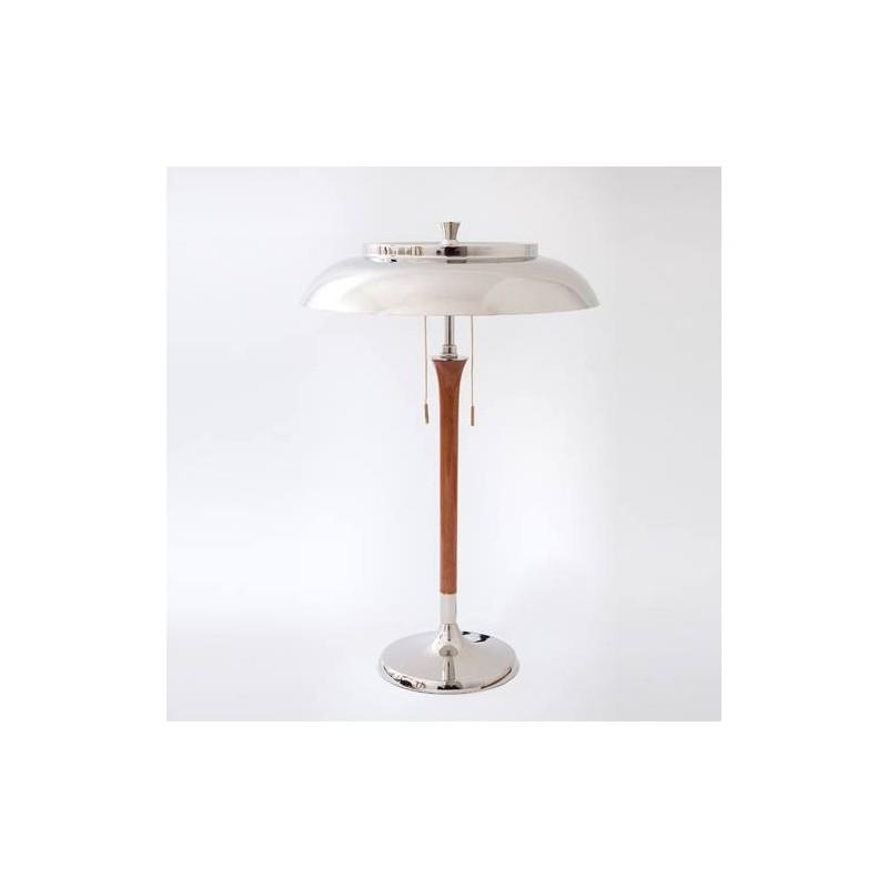 Lámpara mesa Vintage 2 luces, base y plato metálicos en cromo, pie  en madera torneada