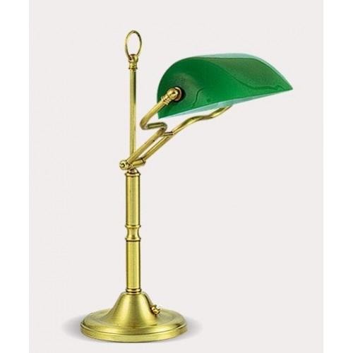 Lámpara mesa banquero, bronce y cristal verde , 1 luz E27