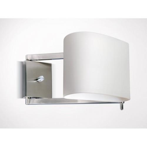 Aplique cabecera Plisé, 1 luz, con regulador, platil y cristal opal