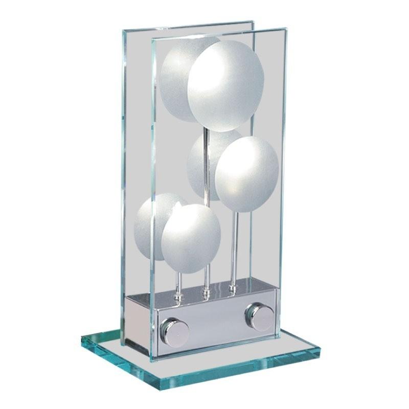 Velador Marti, 3 luces, cristal templado y metal cromado