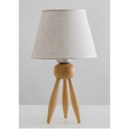 Velador trípode Mumi, madera natural con pantalla , 1 luz E27
