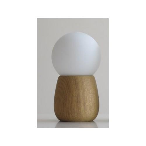 Velador globo Tunito, base madera maciza, globo opal, 1 luz