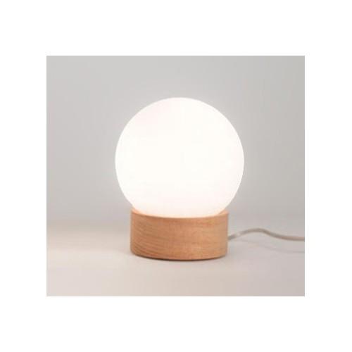Velador globo Moscú Globito, base madera maciza, globo opal, 1 luz