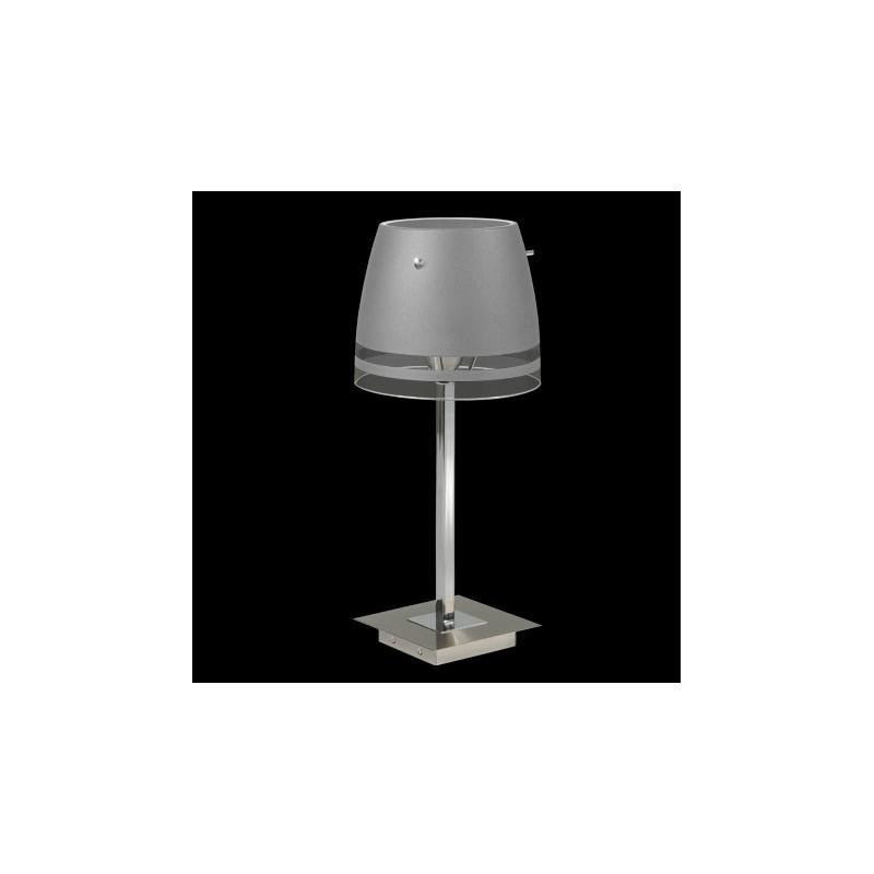 Velador Módena, platil con cromo, tulipa cristal satinado, 1 luz E27